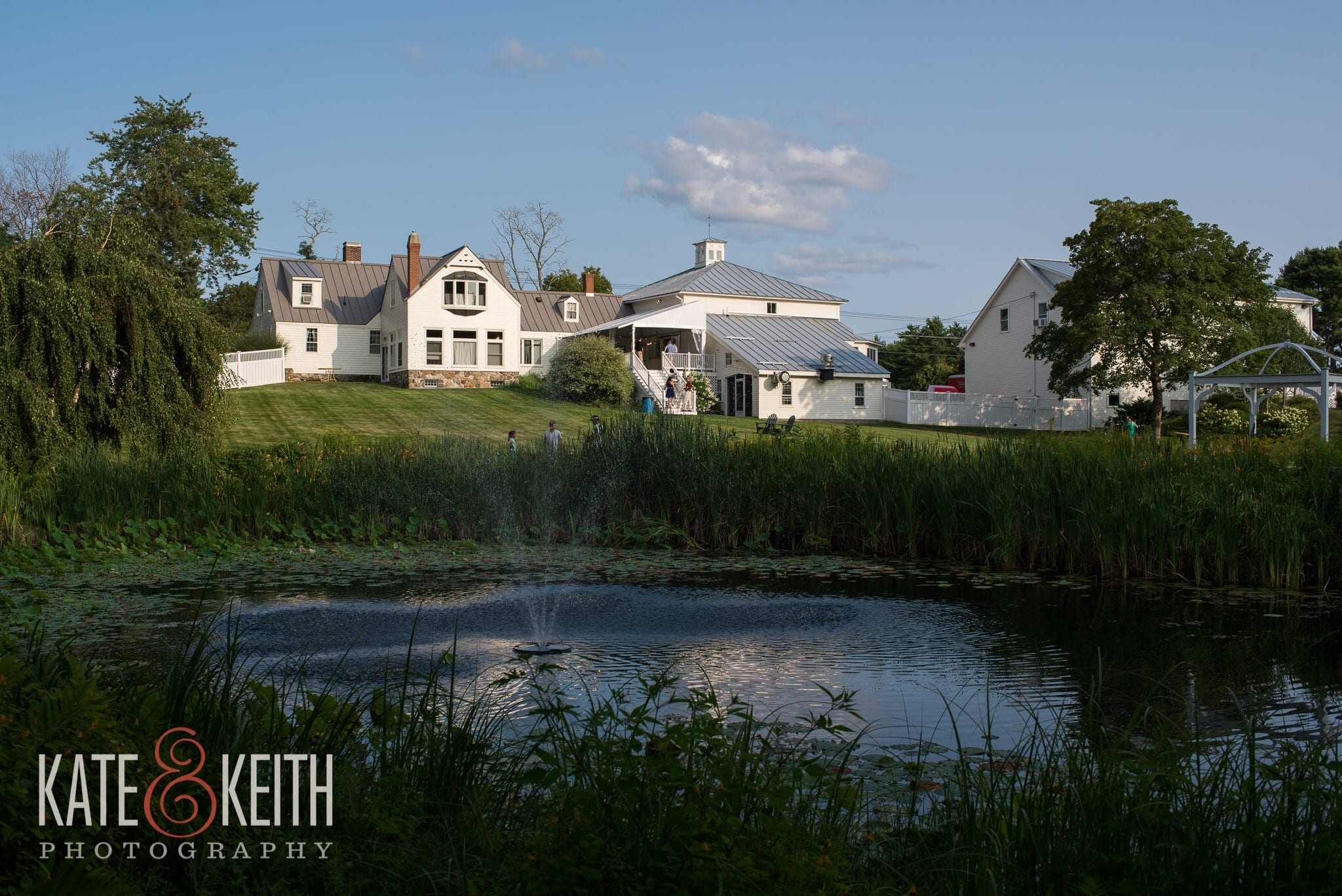 landscape view of barn and pond | barn to rent for events